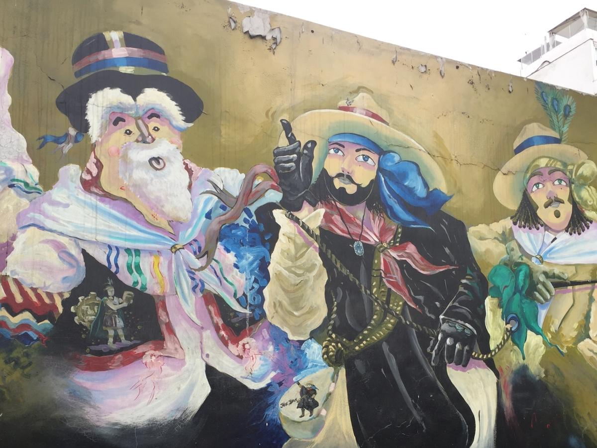 Mural of troupadors in Lima, Peru