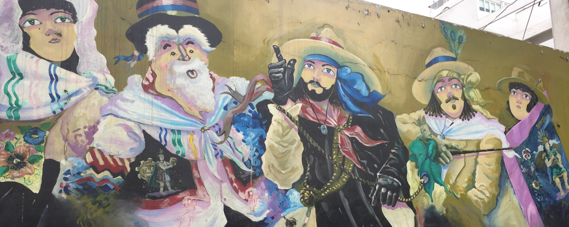 Mural of troupadors in Lima, Peru